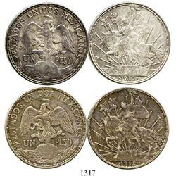 """Lot of 2 Mexico City, Mexico, 1-peso """"caballitos,"""" 1910 and 1912. KM-453. 27.1 and 27.0 grams. Rainb"""