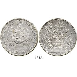 """Mexico, 1 peso, 1914, """"caballito,"""" key date. KM-453. 27.0 grams. Lustrous XF, once lightly cleaned b"""