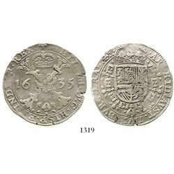 Brabant (Brussels mint), Spanish Netherlands, patagon, Philip IV, 1635. KM-53.3. 27.9 grams. VF with