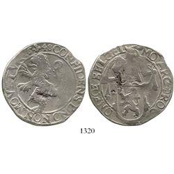 """Gelderland, United Netherlands, """"lion"""" daalder (48 stuivers), 1648. KM-36. 26.6 grams. AVF with part"""