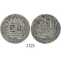 Zeeland, Netherlands, 6 stuivers, 1772. KM-90.2. 4.7 grams. Sharp XF with minor porosity and small v