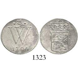 Dutch West Indies, 2 stuivers, 1794. KM-1. 1.6 grams. Semi-lustrous AU, lightly toned, no problems,