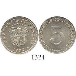 Panama, copper-nickel 5 centesimos, 1932, encapsulated NGC MS 64, ex-Whittier collection. KM-9.  Cho