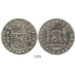 "Lima, Peru, pillar 8 reales, Charles III, 1771JM, ""HIAPSN"" error, very rare. KM-64.2; CT-849. 25.8 g"