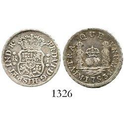 Lima, Peru, pillar 1 real, Ferdinand VI, 1753J. KM-52; CT-547. 3.4 grams. Lustrous, well-struck XF,