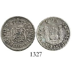 Lima, Peru, pillar 1 real, Ferdinand VI, 1757JM. KM-52; CT-552. 3.3 grams. Lustrous XF, good strike.