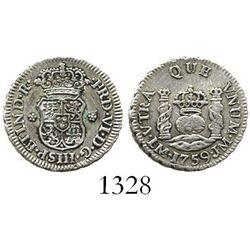 Lima, Peru, pillar 1/2 real, Ferdinand VI, 1759JM, ex-Patterson collection. KM-51; CT-645. 1.7 grams