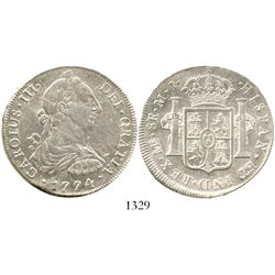 Lima, Peru, bust 8 reales, Charles III, 1774MJ. KM-78; CT-855. 26.9 grams. Lustrous XF+, off-center