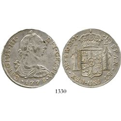 Lima, Peru, bust 8 reales, Charles III, 1778MJ. KM-78; CT-859. 26.8 grams. Lustrous XF with faint ad