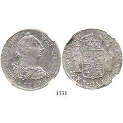 Lima, Peru, bust 8 reales, Charles III, 1787MI, encapsulated NGC AU 58. KM-78a; CT-871.  Choice bold