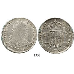 Lima, Peru, bust 8 reales, Charles III, 1789IJ. KM-78a; CT-874. 26.6 grams. Bold and nicely toned VF