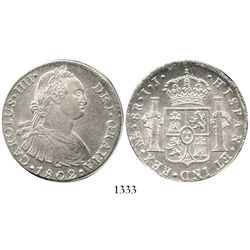"Lima, Peru, bust 8 reales, Charles IV, 1802IJ, ex-""Lima Mint hoard,"" in presentation box. KM-97; CT-"