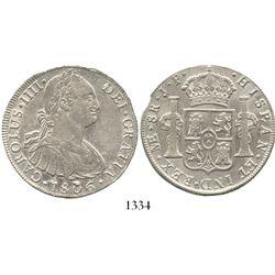 Lima, Peru, bust 8 reales, Charles IV, 1806JP. KM-97; CT-663. 26.6 grams. Lustrous XF, no toning, pa