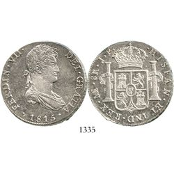 Lima, Peru, bust 8 reales, Ferdinand VII, 1815JP. KM-117.1; CT-483. 27.2 grams. Highly lustrous Mint