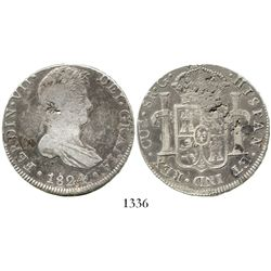 Cuzco, Peru, bust 8 reales, Ferdinand VII, 1824G. KM-117.2; CT-386. 26.6 grams. Richly toned AVF wit
