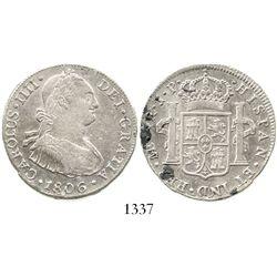 Lima, Peru, bust 4 reales, Charles IV, 1806JP, ex-Sellschopp. KM-96; CT-818. 13.2 grams. Lustrous XF