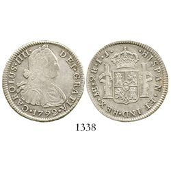 Lima, Peru, bust 2 reales, Charles IV, 1792/9IJ, large bust, rare. KM-unlisted; CT-unlisted. 6.5 gra