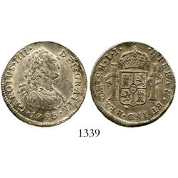 Lima, Peru, bust 2 reales, Charles IV, 1793IJ, standard bust. KM-95; CT-940. 6.6 grams. Bold XF, ric