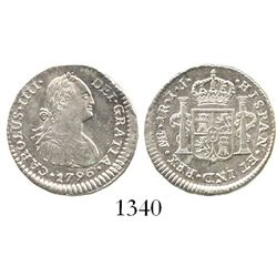 Lima, Peru, bust 1 real, Charles IV, 1796IJ. KM-94; CT-1102. 3.3 grams. Lustrous XF+, very off-cente