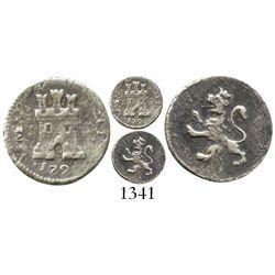 Lima, Peru, 1/4 real, Charles IV, 1795JI, scarce. KM-102.1; CT-1378. 0.7 gram. Bold XF details but l