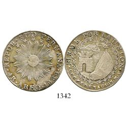 Arequipa, (South) Peru, 4 reales, 1838MV. KM-172. 15.2 grams. Popular one-year type with elegant des