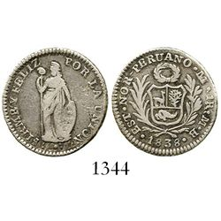 Lima, Peru (State of North Peru), 1 real, 1838MB, very rare. KM-158. 3.2 grams. Off-center VF with n