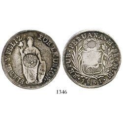 """Philippines (under Spain), 8 reales, Ferdinand VII, crowned """"F.7.o"""" countermark (1832-34) on a Lima,"""