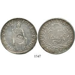 """Philippines (under Spain), peso, Isabel II, crowned """"Y.II."""" countermark (1834-37) on a Lima, Peru, 8"""