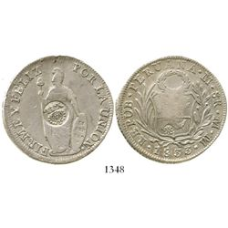 Philippines (under Spain), peso, Isabel II, crowned  Y.II.  countermark (1834-37) on a Lima, Peru, 8