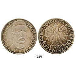 Poland, 10 zlotych, 1933, 70th anniversary of 1863 January Uprising (Traugutt). KM-24. 22.0 grams. R