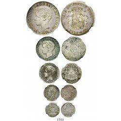 Puerto Rico (under Spain), complete set of 1 peso (1895-PGV), 40c, 20c, 10c and 5c (1896-PGV), Alfon
