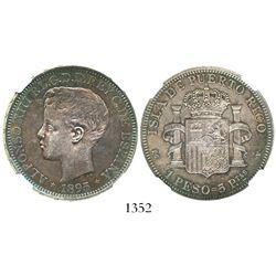 Puerto Rico (under Spain), 1 peso, 1895-PGV, encapsulated NGC AU 53. CT-82; KM-24.  Vividly rainbow-
