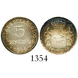 Puerto Rico (under Spain), 5 centavos, 1896-PGV. CT-86; KM-20. 1.2 grams. Lustrous Mint State with w