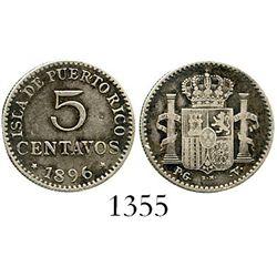 Puerto Rico (under Spain), 5 centavos, 1896-PGV. CT-86; KM-20. 1.2 grams. VF-XF with darkly toned fi