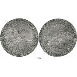 """Modern struck-silver copy of a Spanish (Castile and Leon) gold dobla de 10 doblas of Pedro I (""""the C"""