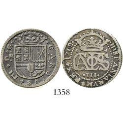 "Barcelona, Spain, milled 2 reales ""pistareen,"" Charles III Pretender, 1712. CT-28; KM-PT5. 5.1 grams"