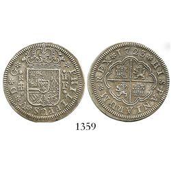 "Segovia, Spain, milled 2 reales ""pistareen,"" Philip V, 1723F. CT-1404; KM-297. 5.3 grams. Broad-flan"
