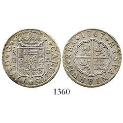 "Madrid, Spain, milled 2 reales ""pistareen,"" Charles III, 1767PJ. CT-1297; KM-388.1. 5.8 grams. Natur"