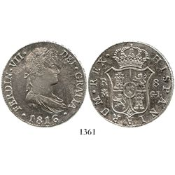 Madrid, Spain, bust 8 reales, Ferdinand VII, 1816GJ. CT-505; KM-466.3. 26.9 grams. Lustrous, well-st