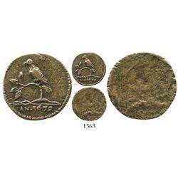 Suriname (Dutch Guyana), copper 4 duit, 1679, uniface, 4 leaves, very rare. KM-5. 3.1 grams. Mainlan