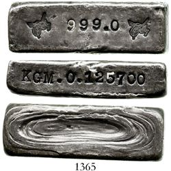 Turkey, silver bullion bar (1900s), official mint house issue.  125.7 grams. A small, neatly formed,