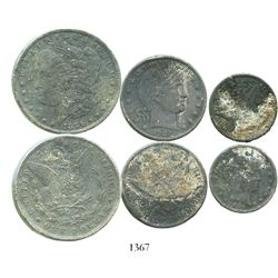 Lot of three US silver coins (dollar, 1896-O; half dollar, 1903-O; and quarter dollar, 1905), from t