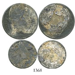 Lot of two US silver coins (half dollar and quarter dollar, mints and dates not visible), formerly c