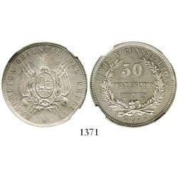 Uruguay (struck in Paris, France), 50 centesimos, 1877-A, encapsulated NGC AU 58. KM-16.  Lustrous a