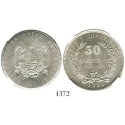 Uruguay (struck in Santiago, Chile), 50 centesimos, 1893/73-So, encapsulated NGC MS 64. KM-16.  Choi