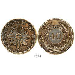 Uruguay (struck in Lyon, France), copper 40 centesimos, 1857-D, encapsulated NGC MS 61 BN. KM-10.  B