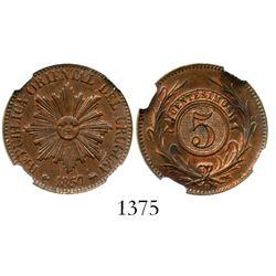 Uruguay (struck in Lyon, France), copper 5 centesimos, 1857-D, encapsulated NGC MS 62 BN. KM-8.  Cho