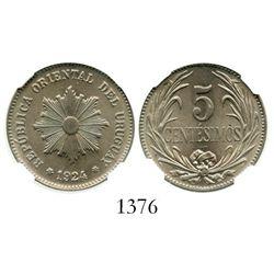 Uruguay (struck in Philadelphia), copper-nickel 5 centesimos, 1924, encapsulated NGC MS 66. KM-21.