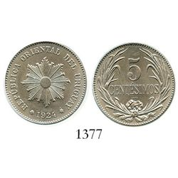Uruguay (struck in Philadelphia), copper-nickel 5 centesimos, 1924, encapsulated PCGS MS 65 KM-21.