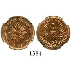 Uruguay (struck in Santiago, Chile), copper 2 centesimos, 1949-So, encapsulated NGC MS 65 RB. KM-20a